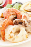 Seafood with Tzatziki Royalty Free Stock Photos