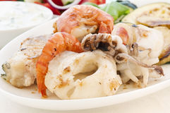 Seafood with Tzatziki stock photo