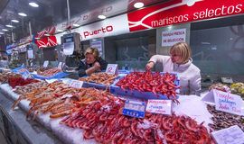 Seafood at Valencia Central Market Stock Photos