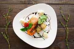 Seafood variety on white plate flat lay Royalty Free Stock Photos