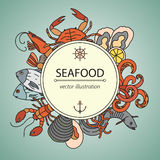 Seafood vector card with symbols of various delicacies. Stock Photography