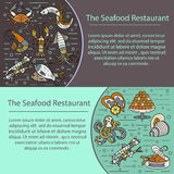 Seafood vector card with symbols of various delicacies Stock Photo