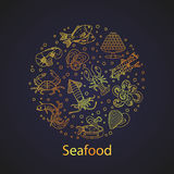 Seafood vector card with symbols of various delicacies Royalty Free Stock Photography