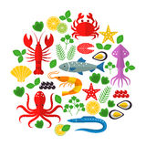 Seafood vector flat icons set. Vector illustrations of lobster, crab, salmon, fish, squid, oyster, shrimp, octopus, eel Seafood menu background Fresh seafood Royalty Free Stock Photo