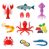 Seafood vector flat icons set. Vector illustrations of lobster, crab, salmon, fish, squid, oyster, shrimp, octopus, eel Seafood menu background Fresh seafood Stock Images