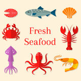 Seafood vector flat icons set. Vector illustrations of lobster, crab, salmon, fish, squid, oyster, shrimp, octopus, eel Seafood menu background Fresh seafood Stock Photography
