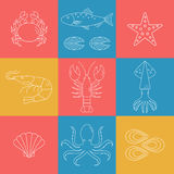 Seafood vector flat line icons set. Vector illustrations of lobster, crab, salmon, fish, squid, oyster, shrimp, octopus eel Stock Photos