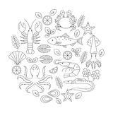 Seafood vector flat line icons set. Vector illustrations of lobster, crab, salmon, fish, squid, oyster, shrimp, octopus, eel. Seafood menu background Fresh Royalty Free Stock Photos