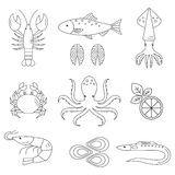 Seafood vector flat line icons set. Vector illustrations of lobster, crab, salmon, fish, squid, oyster, shrimp, octopus, eel . Seafood menu background Fresh Royalty Free Stock Image