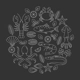 Seafood vector flat line icons set. Vector illustrations of lobster, crab, salmon, fish, squid, oyster, shrimp, octopus, eel. Seafood menu background Fresh Stock Image
