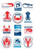 Seafood vector icons for restaurant menu. Seafood and fish food icons and symbols of squid or cuttlefish, lobster crab and shrimp prawn, tuna, salmon or trout Stock Photo
