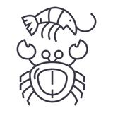 Seafood vector line icon, sign, illustration on background, editable strokes Stock Photos