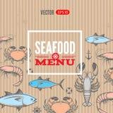 Seafood vector menu Royalty Free Stock Photography