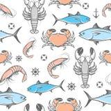 Seafood vector pattern Stock Photos