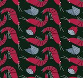 Shrimp, mussels and lemon seamless pattern Royalty Free Stock Photos