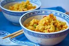 Seafood and vegetable risotto Stock Images