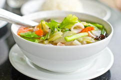 Seafood and vegetable soup. Royalty Free Stock Photo