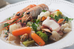 Seafood and vegetable soup Stock Photo