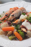 Seafood and vegetable soup Royalty Free Stock Photography