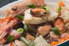Seafood and vegetable soup Royalty Free Stock Image