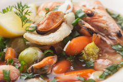 Seafood and vegetable soup Royalty Free Stock Images
