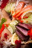 Seafood and vegetables Royalty Free Stock Images