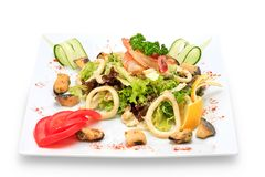 Seafood and vegetables Royalty Free Stock Photo