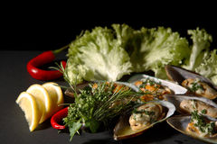 Seafood and Vegetables. A display of different kinds of seafood and vegetables on a black background royalty free stock image