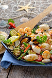 Seafood and vegetables Royalty Free Stock Photography