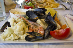 Seafood and vegetables in Marseille Royalty Free Stock Image