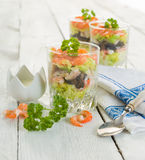 Seafood verrine with horseradish sauce Royalty Free Stock Photography