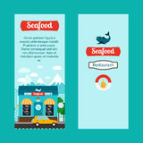 Seafood vertical flyers with shop building Royalty Free Stock Photography
