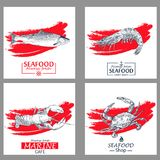 Seafood vintage design template set. Vector illustration hand drawn linear art. Vector Illustration