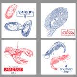 Seafood vintage design template set. Vector illustration hand drawn linear art. Royalty Free Illustration