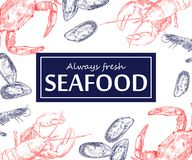 Seafood vintage design template set. Vector illustration hand drawn linear art. Stock Illustration