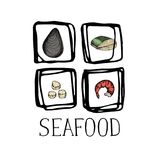 Seafood vintage hand drawn icon set. Oyster, shrimp, scallop and fish sketches for restaurant menu or market advertising. Natural healthy food lettering design Stock Images