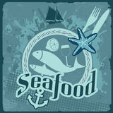Seafood vintage poster. Vintage poster for seafood restaurant with fish and food, vector illustration Stock Photography