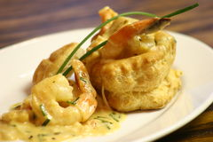 Seafood Vol au Vent. Puff Pastry fulled with fresh seafood Royalty Free Stock Photo