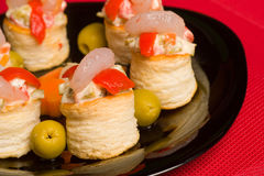 Seafood vol au vents Royalty Free Stock Photos