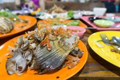 Seafood waste after eating. Close up of seafood waste after eating in restaurant, Thailand Royalty Free Stock Photography