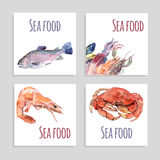 Seafood Watercolor Banners Set. Seafood watercolor square banners set with crabs fish and shrimp isolated vector illustration Royalty Free Stock Image