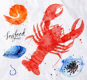 Seafood watercolor cancer, caviar, mussels, shrimp Royalty Free Stock Photo