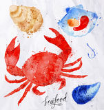 Seafood watercolor crab, clams, mussels, oysters Royalty Free Stock Photos