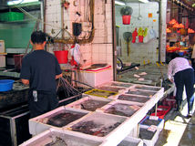 Seafood on a wet market in Mong Kok, Hong Kong Royalty Free Stock Photos