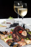 Seafood and white wine Royalty Free Stock Photography
