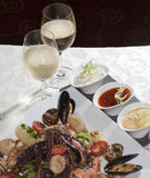 Seafood and white wine Royalty Free Stock Image