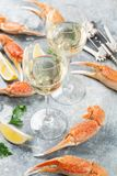 Seafood and white wine. Seafood. Oysters, lobster, clams and white wine Stock Image