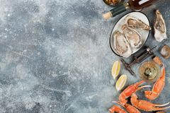 Seafood and wine. Seafood and white wine. Oysters, lobster, clams. On stone table with space for your text Royalty Free Stock Photos
