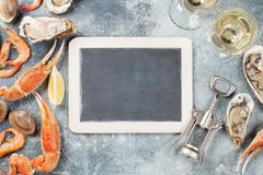 Seafood and white wine Stock Photos