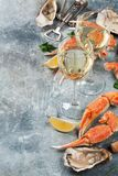 Seafood and wine. Oysters, lobster, clams. On stone table with space for your text Royalty Free Stock Images